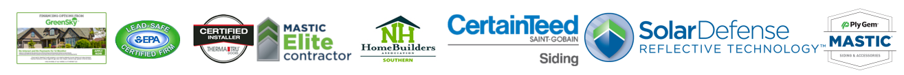 logos - GreenSky, EPA, ThermaTru certified installer, mastic elite contractor, NH homebuilders association souther, CertainTeed