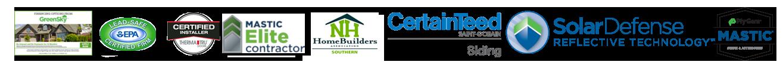 logos - GreenSky, EPA, ThermaTru certified installer, mastic elite contractor, NH homebuilders association souther, CertainTeed